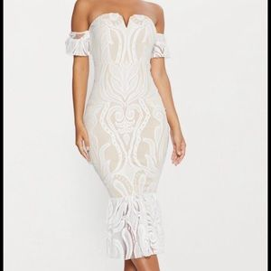 Cream and white lace dress